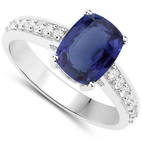 Certified 4.30 CTW Genuine Blue Sapphire And Diamond 14