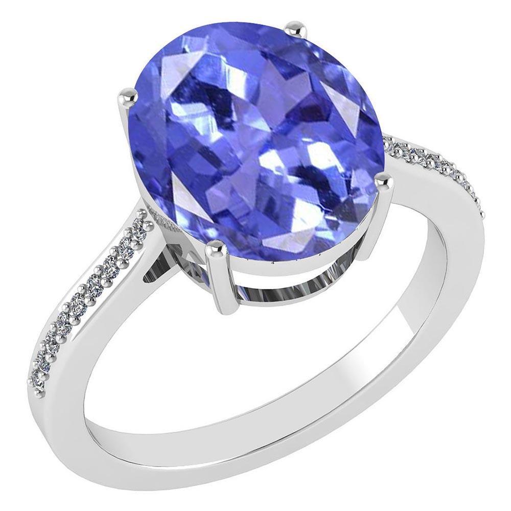 Certified 2.75 Ctw Tanzanite And Diamond Ring 14K White