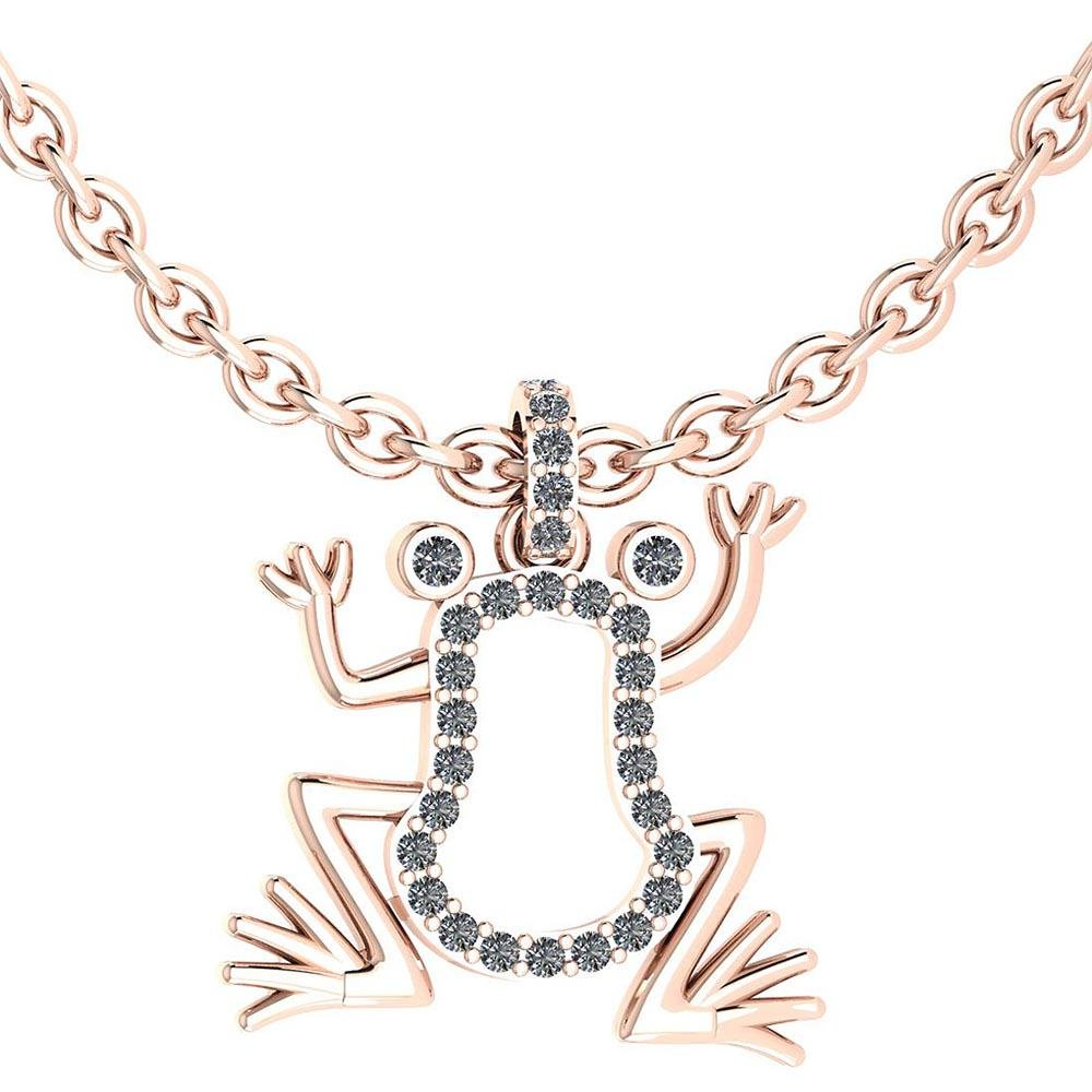 Certified 0.24 Ctw Diamond Frog Necklace Animal New col