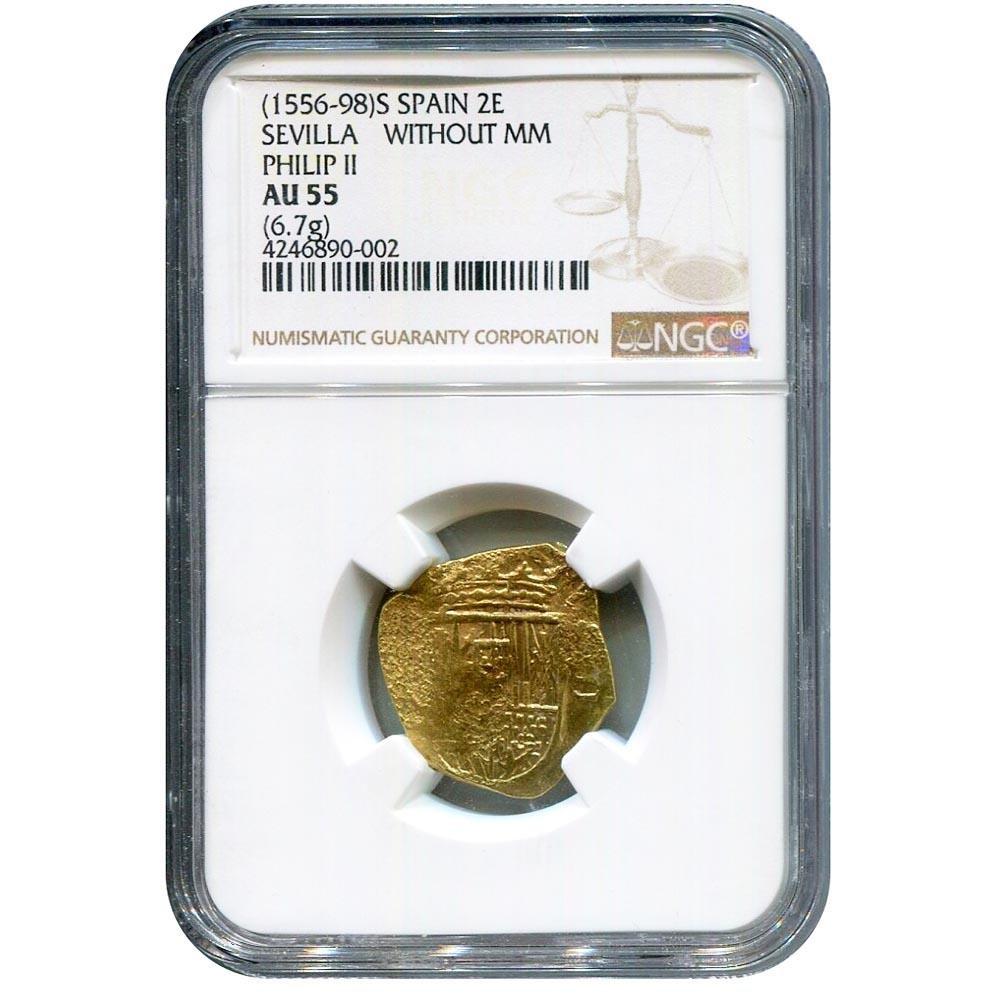 Spain 2 Escudos Gold 1556-1598 NGC AU55