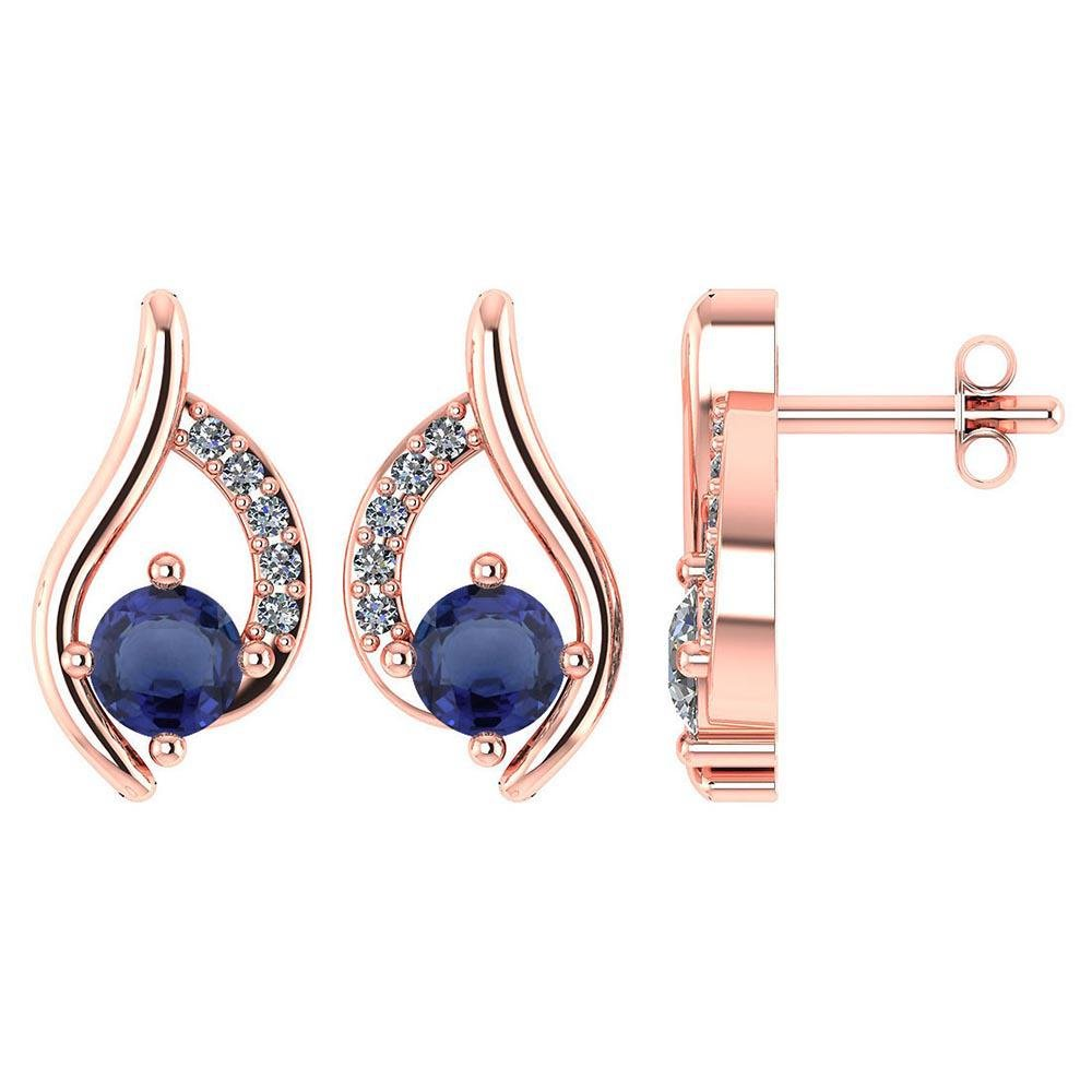 Certified .51 CTW Genuine Blue Sapphire And Diamond (G-