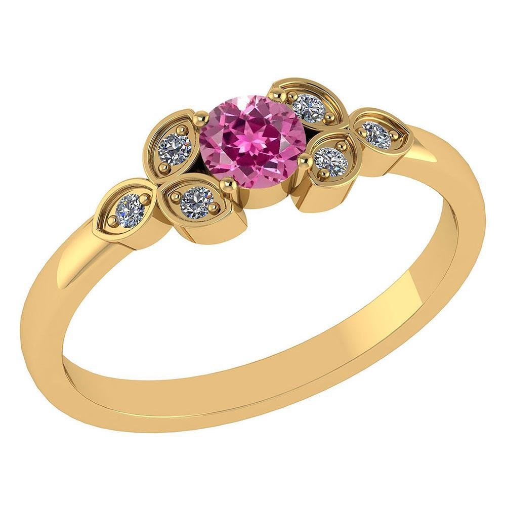 Certified .39 CTW Genuine Pink Touramline And Diamond (