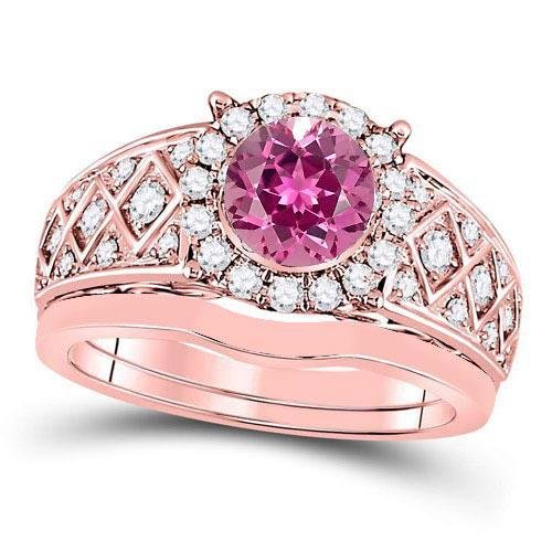 Certified 2.50 CTW Genuine Pink Touramline And Diamond