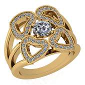 Certified 1.13 Ctw Diamond SI2 /I1 Victorian Style Enga
