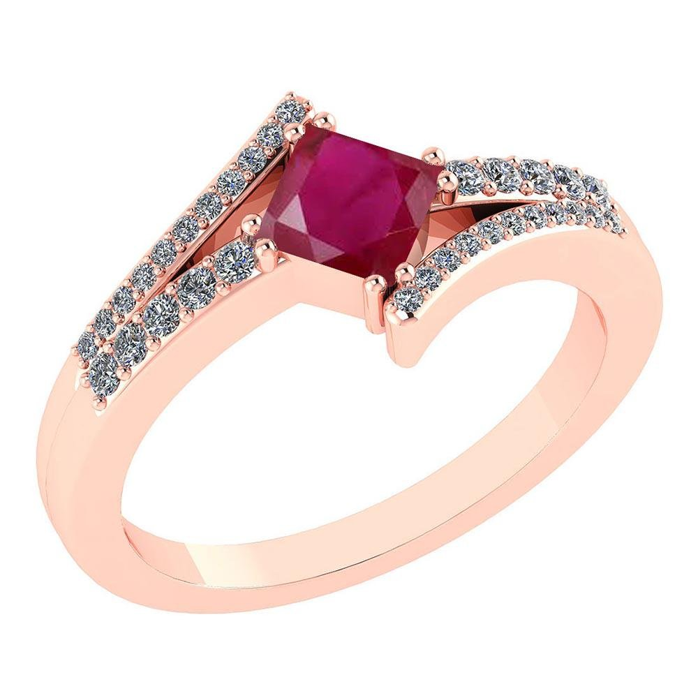 Certified .88 Ctw Genuine Ruby And Diamond 14K Rose Gol