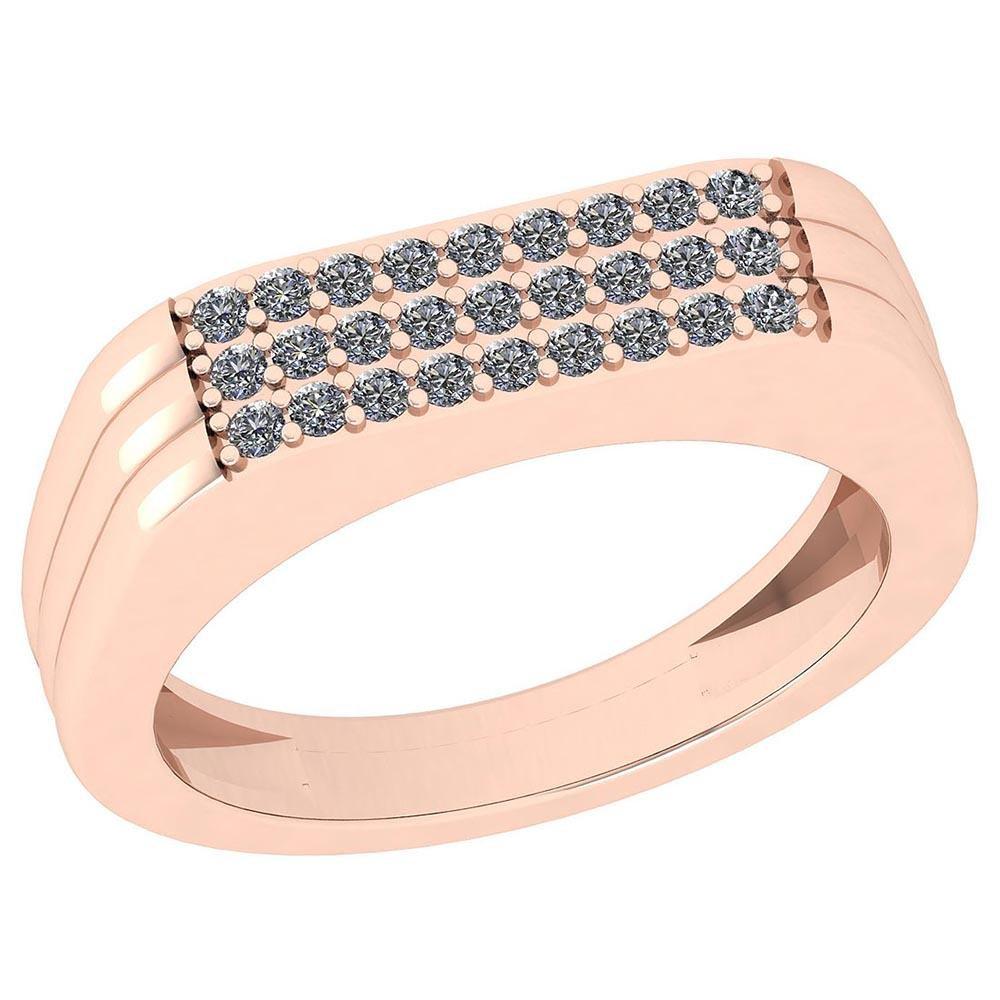 Certified 0.27 Ctw Diamond SI2/I1 14K Rose Gold Ring