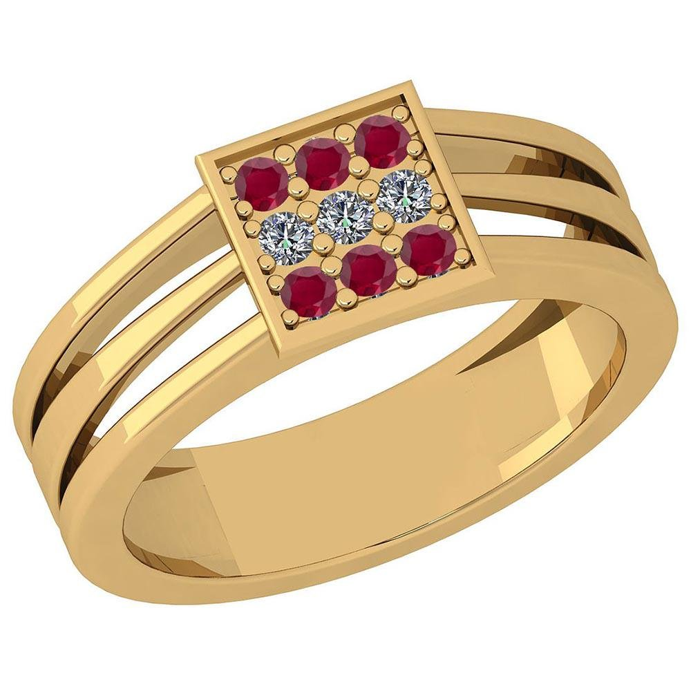 Certified 0.22 Ctw Ruby And Diamond SI1/SI2 10K Yellow