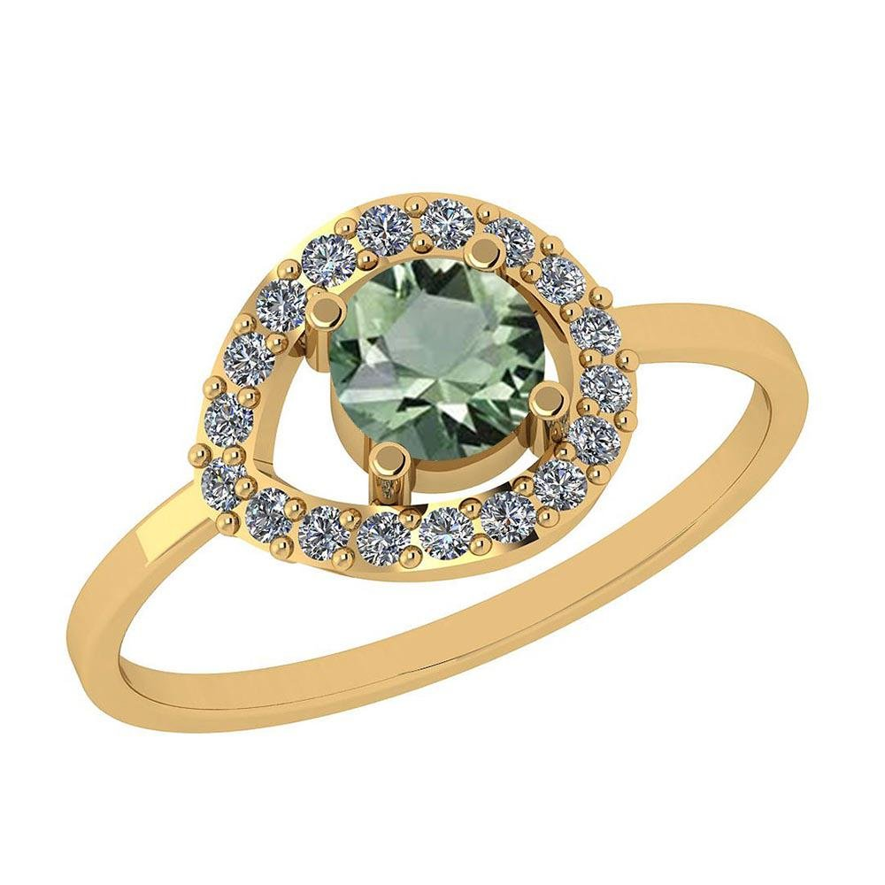 Certified 0.68 Ctw Green Amethyst And Diamond I1/I2 14K