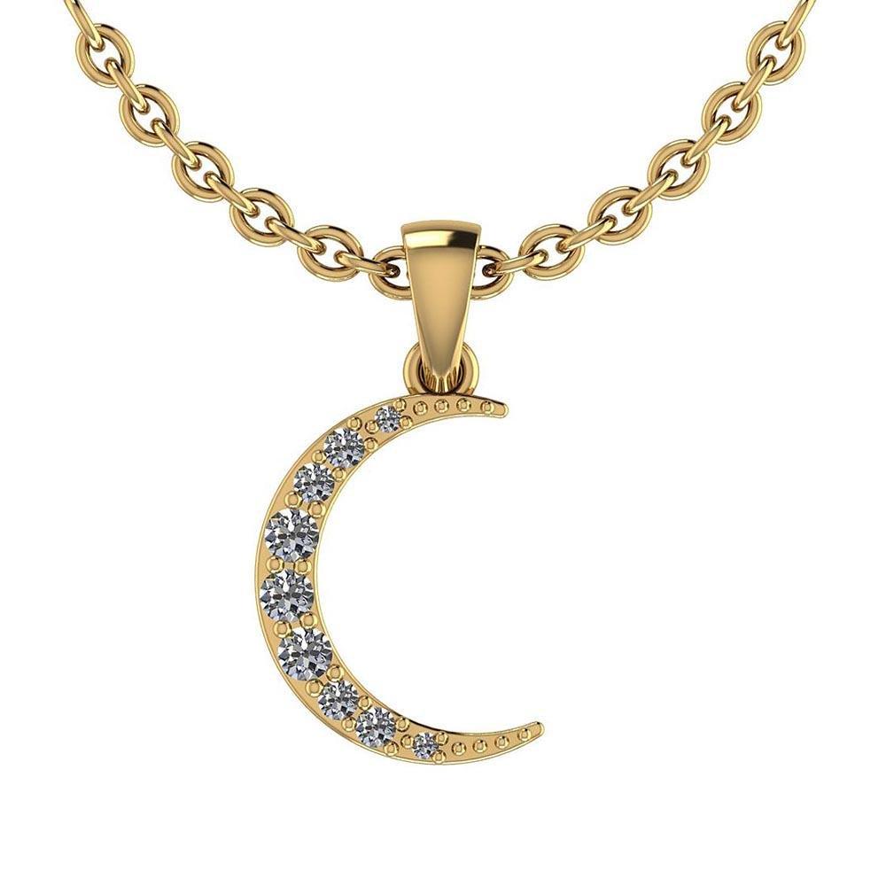 Certified 0.17 Ctw Diamond I1/I2 Moon Style Pendant Nec