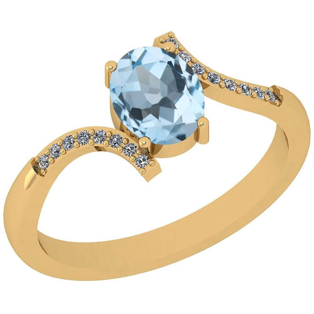 Certified 1.62 Ctw Blue Topaz And Diamond VS/SI1 14K Ye