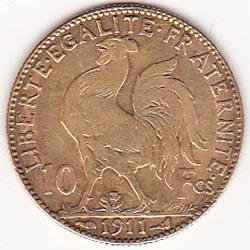 France 10 francs gold coin 1895-1899 Cerus