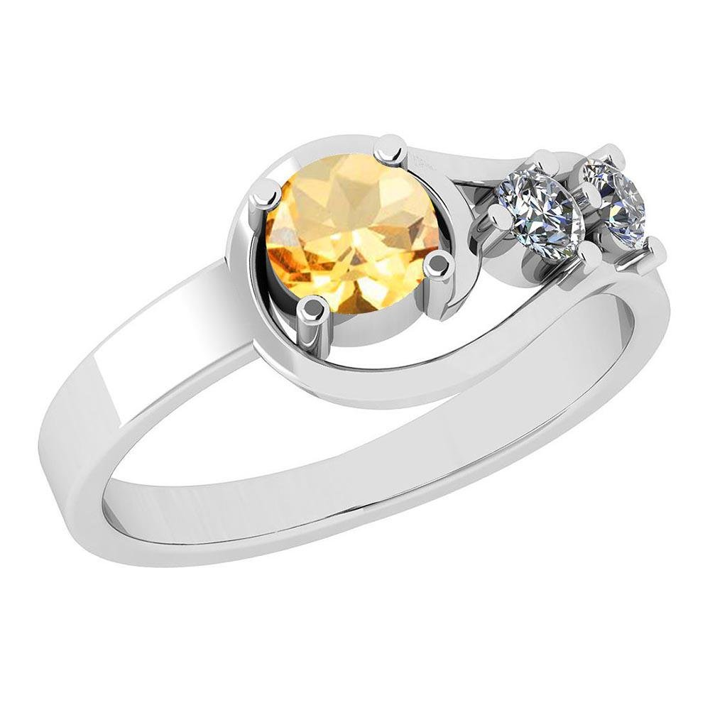Certified 0.65 Ctw Citrine And Diamond SI2/I1 Prong Set