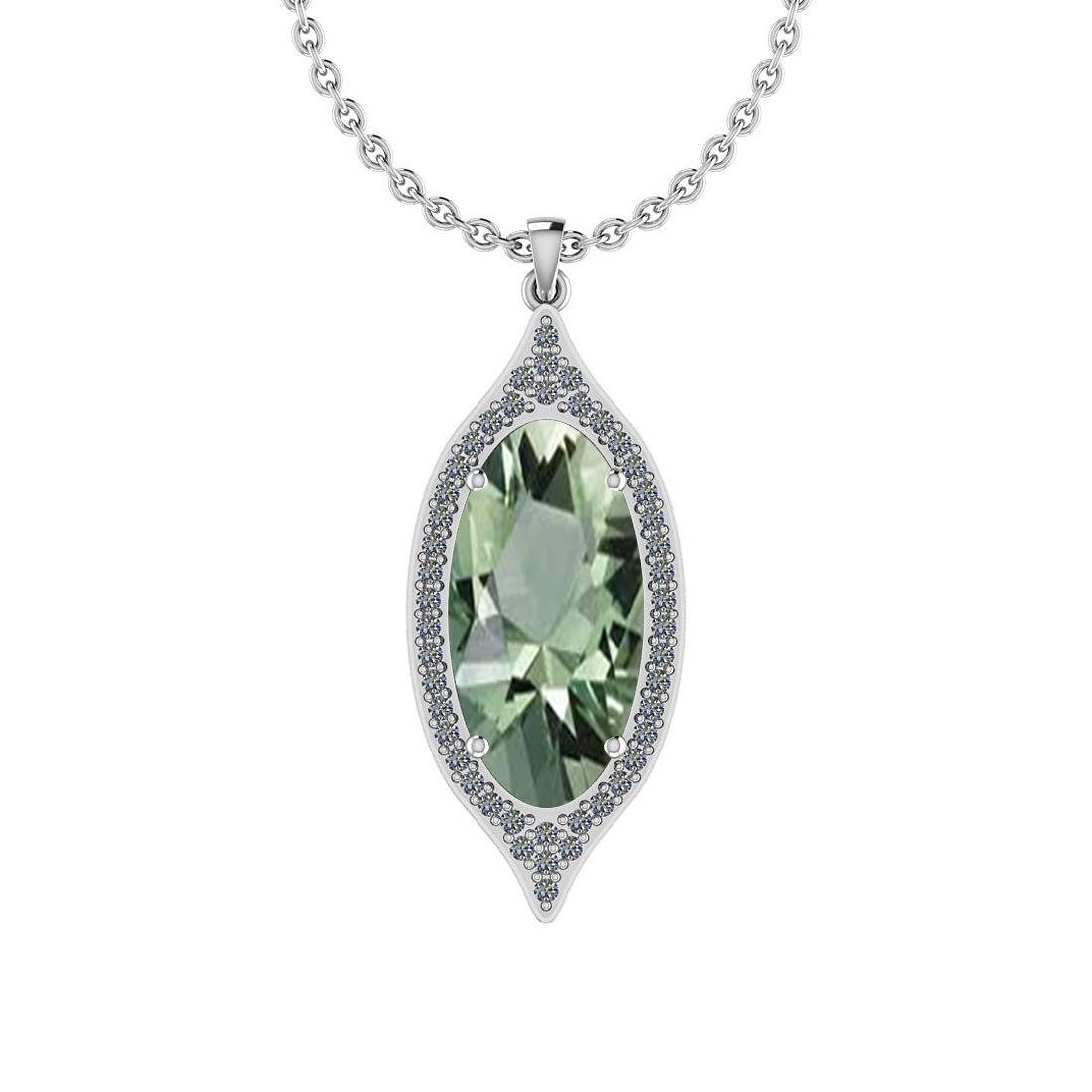 Certified 19.54 Ct Green Amethyst and Diamond I1/I2 10K