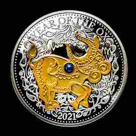 2021 Fiji 1 oz Silver Year of the Ox Proof (Gold Gilded