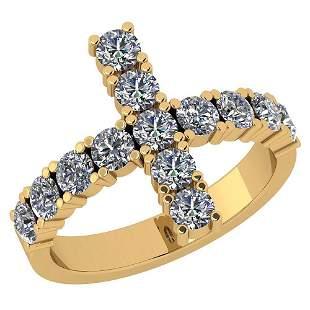 Certified 1.11 Ctw Diamond I1/I2 Eternity Style Cross P