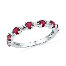 10kt White Gold Womens Round Lab-Created Ruby Band Ring