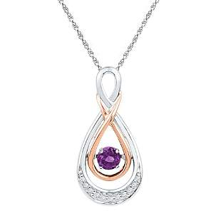 10kt Two-tone Gold Womens Round Lab-Created Amethyst Te