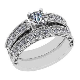 Certified 1.17 Ctw SI2/I1 Diamond 14K White Gold Bridal
