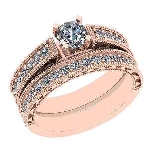 Certified 1.17 Ctw VS/SI1 Diamond 14K Rose Gold Bridal