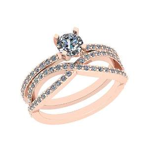 Certified 1.10 Ctw VS/SI1 Diamond 14K Rose Gold Engagem