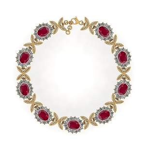 14.01 Ctw SI2/I1 Ruby And Diamond 14K Yellow Gold Vinta