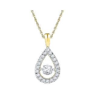 10kt Yellow Gold Womens Round Diamond Moving Twinkle So