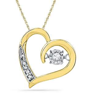 10kt Yellow Gold Womens Round Diamond Heart Twinkle Mov