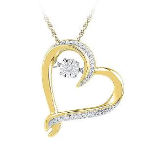 10kt Yellow Gold Womens Moving Twinkle Round Diamond He