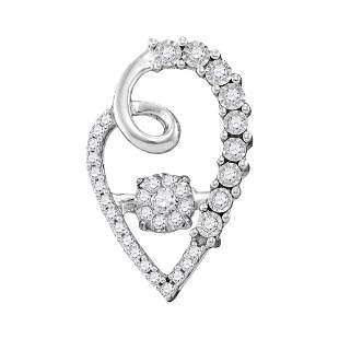 10kt White Gold Womens Round Diamond Moving Twinkle Clu
