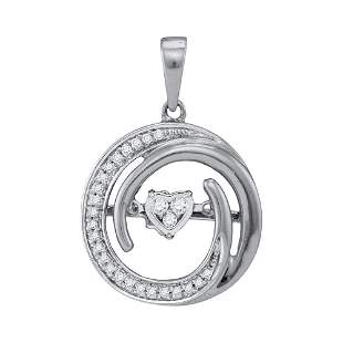 10kt White Gold Womens Round Diamond Moving Twinkle Hea