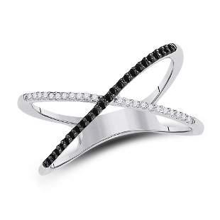 Sterling Silver Womens Black Color Enhanced Diamond Cro