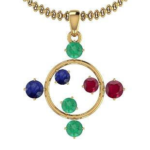 Certified 0.74 Ctw Emerald,Ruby,Blue Sapphire 14K Yello
