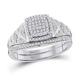 10kt White Gold Round Diamond Square Bridal Wedding Rin