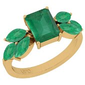 Certified 2.94 Ctw Emerald 14K Yellow Gold Engagement R