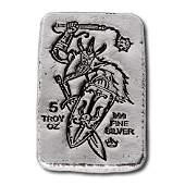 5 oz .999 Fine Silver Bar - Monarch Viking Warrior with