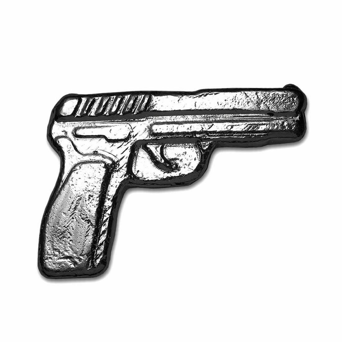 2 oz .999 Fine Silver Gun - 3D Poured Bar Pistol Handgu