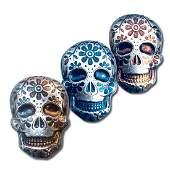 2 oz .999 Fine Silver Sugar Skull - Monarch 3D Art Bar