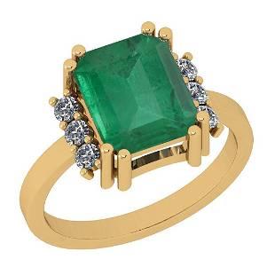 Certified 2.46 Ctw VS/SI1 Emerald And Diamond 14K Yello