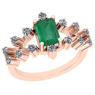 Certified 1.24 Ctw VS/SI1 Emerald And Diamond 14K Rose