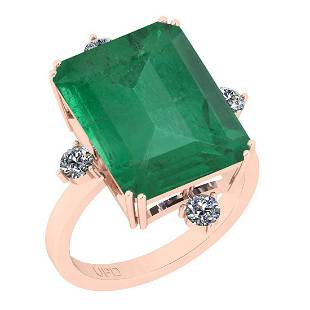 Certified 10.91 Ctw VS/SI1 Emerald And Diamond 14K Rose