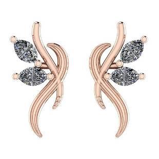 Certified 0.40 Ctw Diamond I1/I2 14K Gold Stud Earrings