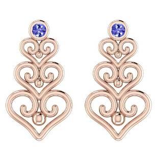 Certified 0.20 Ctw Tanzanite Stud Earrings 14K Gold