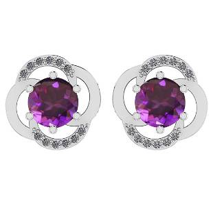 Certified 1.80 Ctw Amethyst And Diamond I1/I2 14K Gold
