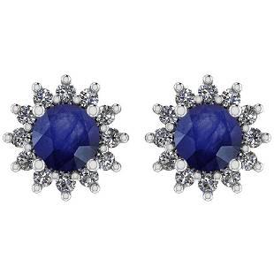Certified 1.30 Ctw Blue Sapphire And Diamond VS/SI1 14K