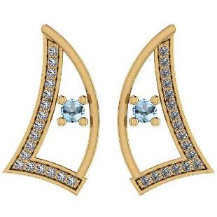 Certified 0.31 Ctw Blue Topaz And Diamond I1/I2 14K Gol