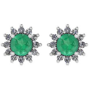 Certified 1.30 Ctw Emerald And Diamond VS/SI1 14K Gold