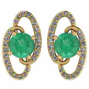 Certified 1.28 Ctw Emerald And Diamond I1/I2 14K Gold S