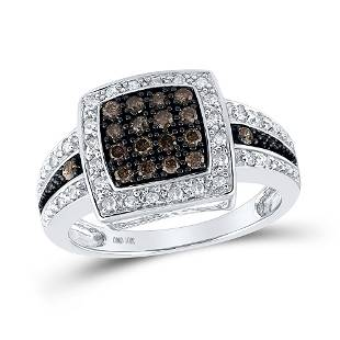 10kt White Gold Womens Round Brown Diamond Square Clust