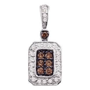 10kt White Gold Womens Round Brown Diamond Rectangle Cl