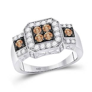14kt White Gold Womens Round Brown Diamond Cluster Ring